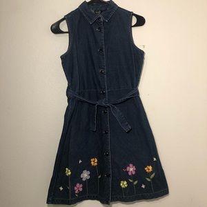 Gap denim dress girls XXL floral embroidery